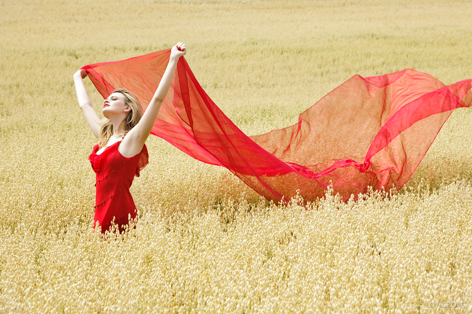 Chloe Jasmine Whichello in a cornfield